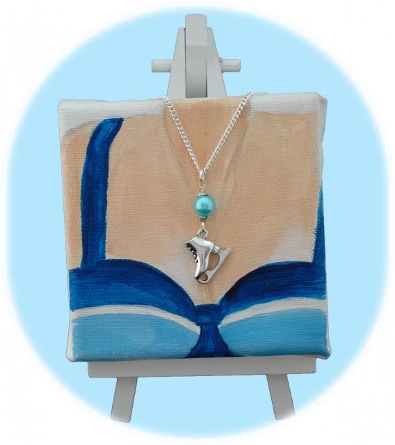 Kette Schlittschuh silber mit Perle